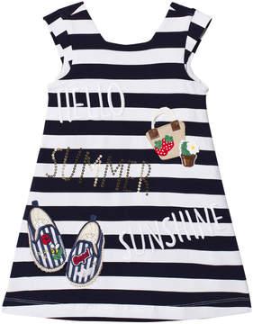 Mayoral Navy Stripe Summer Applique Dress