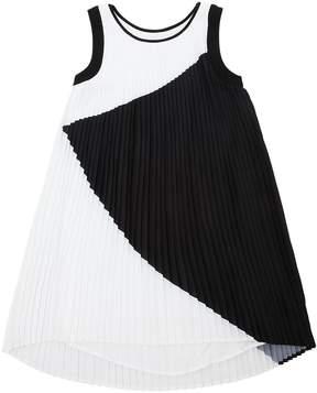 Karl Lagerfeld Georgette Plisse Sleeveless Dress