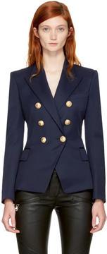 Balmain Navy Wool Classic Six-Button Blazer