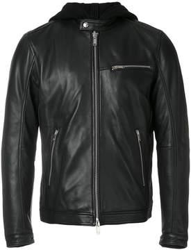 Dondup hooded leather jacket