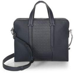 Salvatore Ferragamo Gancio Textured Leather Briefcase