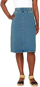 Denim & Co. How Comfy Knit Denim Knee Length Skirt