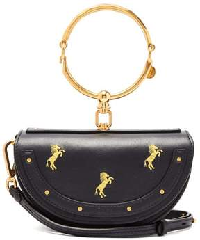Chloé Nile Horse Embroidered Miniaudiere Leather Clutch - Womens - Navy Multi