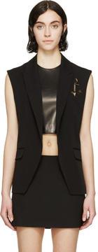Anthony Vaccarello Black Pinned Anchor Emblem Vest