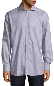 Luciano Barbera Checkered Cotton Button-Down Shirt