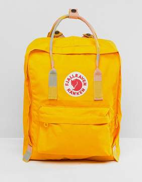 Fjallraven Kanken in Warm Yellow with Blocked Contrast Top Handle and Straps