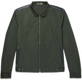 Bottega Veneta Intrecciato Leather-Trimmed Shell Blouson Jacket
