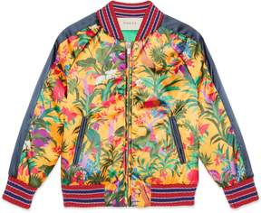 Gucci Children's jungle print satin bomber jacket