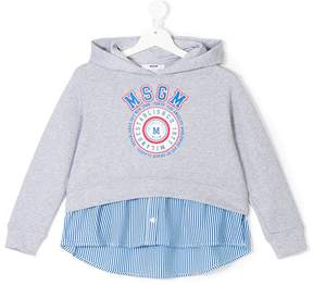 MSGM layered effect logo hoodie