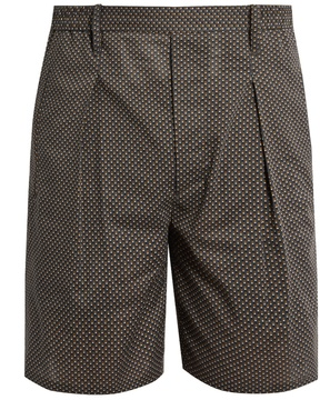 Lemaire Geometric-print slim-leg cotton shorts