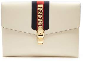 Gucci Sylvie leather shoulder clutch - WHITE - STYLE