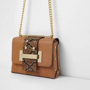 River Island Womens Tan snake cross body chain bag