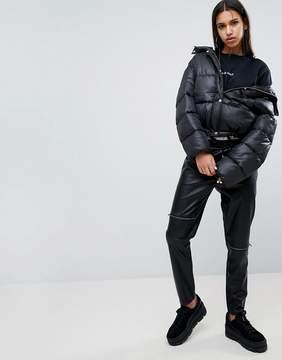Noisy May Leather Look Zip Pants