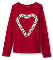Lands' End Little Girls Holiday Embellished Graphic Tee-Candy Cane Heart
