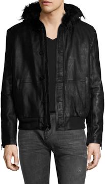 John Varvatos Men's Sheepskin Leather and Faux Shearling Hooded Bomber Jacket