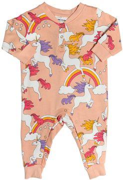 Mini Rodini Unicorn Printed Cotton Jersey Romper