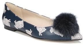 Sam Edelman Women's Raddie Faux Fur Pompom Flat