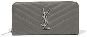 Saint Laurent Quilted Textured-leather Wallet - Dark gray - DARK GRAY - STYLE