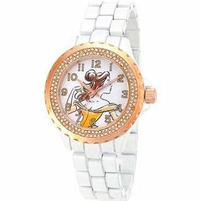 Disney Belle Women's Rose Gold Bezel Enamel Watch, White Bracelet