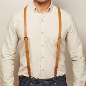 Blade + Blue Natural Tan Leather Buckle Skinny Suspenders