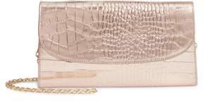 Nordstrom Croc Embossed Metallic Leather Clutch