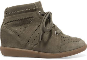 Etoile Isabel Marant Isabel Marant - étoile Bobby Suede Wedge Sneakers - Army green