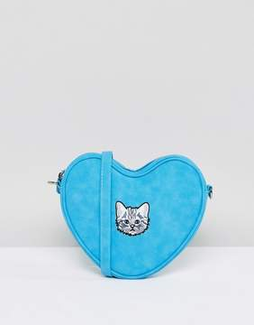 Lazy Oaf Blue Heart Shaped Embroidered Cat Cross Body Bag