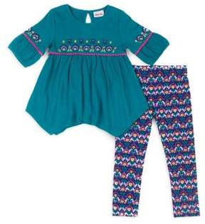 Little Lass Little Girl's Floral Top and Leggings Set