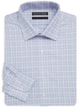 Saks Fifth Avenue BLACK Checkered Cotton Dress Shirt