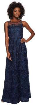 Adrianna Papell Long Metallic Embroidered Gown Women's Dress