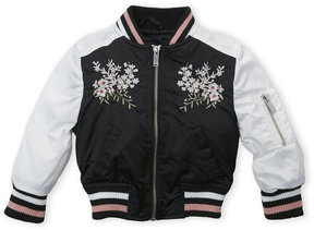 Urban Republic Toddler Girls) Black & White Sateen Embroidered Floral Bomber Jacket