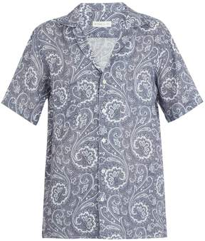 Etro Short-sleeved paisley-print linen shirt