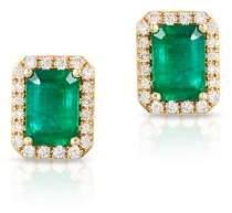 Effy Diamond, Emerald and 14K Yellow Gold Stud Earrings
