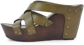 Khrio Olive Leather Wedge