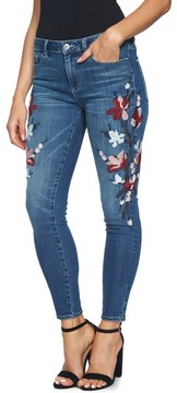 CeCe Women's Floral Embroidered Skinny Jeans