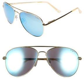 Le Specs Women's Drop Top 60Mm Polarized Aviator Sunglasses - Brushed Gold