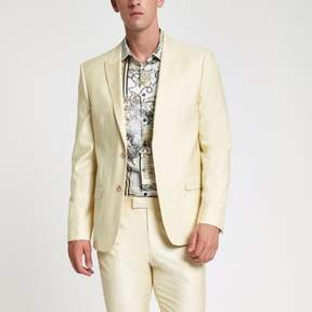 River Island Mens Yellow stretch skinny suit jacket