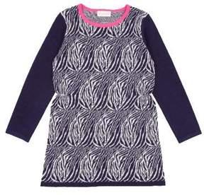 Simple Utica Zebra Sweater Dress in Navy