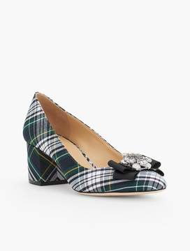 Talbots Isa Brooch & Plaid Block Heel Pumps