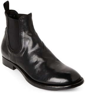 Silvano Sassetti Black Distressed Brogue Chelsea Boots