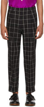 Paul Smith Black and White Check Pleated Trousers