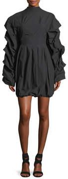 Awake Tendrils & Head Ruched-Sleeves Poplin Dress