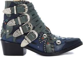 Toga Pulla Green And Blue Leather Texan With Buckles