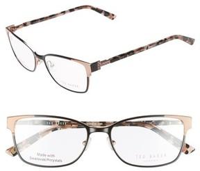 Ted Baker Women's 52Mm Crystal Rectangular Optical Glasses - Black