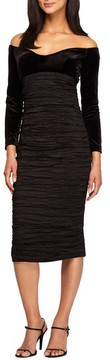 Alex Evenings Women's Off The Shoulder Velvet & Taffeta Sheath Dress