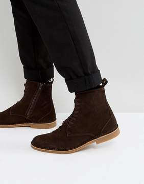 Selected Royce Suede Lace Up Boots In Brown