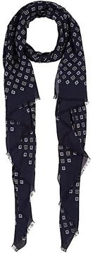 Barneys New York MEN'S MEDALLION-PRINT LIGHTWEIGHT TWILL SCARF