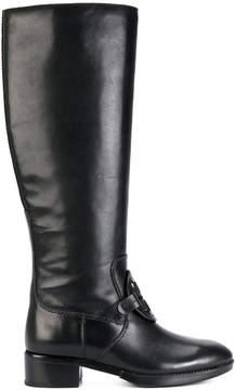 Tory Burch textured logo equestrian boots