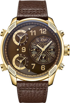 JBW The G4 Mens Diamond-Accent Brown Leather Strap Watch J6248LE