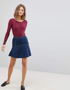 Esprit Denim Flare Hem Mini Skirt